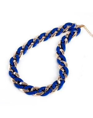 Collier fashion grosse maille doré et bleu