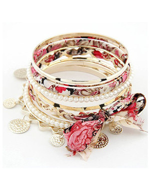 Lot de bracelets fashion doré et imprimé