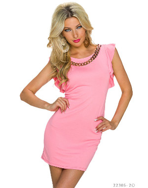 Robe fashion glamour rose col bijoux doré